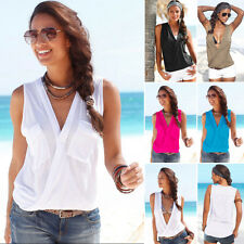 Womens Ladies Sleeveless Blouse 2 Pockets V Neck Wrap Front T Shirt Work Top