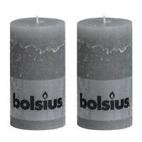 "Pack 2 Bolsius Rustic Light Grey Stone 130mm 13cm 5"" Pillar Candle 43 Hours"