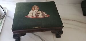 ANTIQUE NEEDLEPOINT PETIT POINT FOOTSTOOL CARVED WOOD Cavalier Spaniel Dog pup