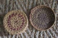Small Vintage Native American Indian Origin Coil Weaving Basket with Lid