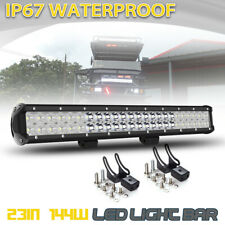 23INCH 144W LED Work Light Bar Spot Flood Combo For Offroad Pickup SUV ATV Jeep