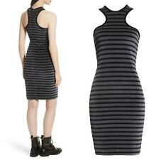 T By Alexander Wang Stripe Velour Racerback Dress NWT $250 Original Sz Large