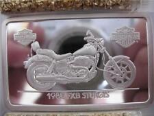 1.4-OZ.999 PURE SILVER 1980 FXB STURGIS HARLEY DAVIDSON 90TH ANNIV INGOT + GOLD