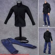 """1/6 Scale Black Long Sleeves Shirt & Jeans Clothes Set For 12"""" Figure Male Body"""