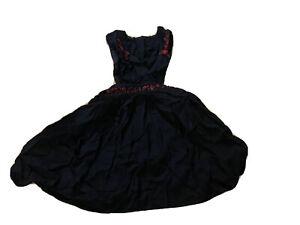 Vintage Little Girls Dress Cover, Apron Black Dress Criss Cross