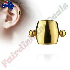 Plain Gold Plated Shield Helix/Cartilage Ear Cuff 316L Surgical Steel Barbell