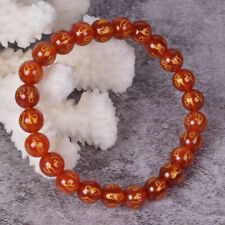 j133923 8mm Red agate om mani padme hum round beads stretchable bracelet 6.5""