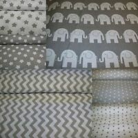 "GREY&WHITE Stars*Elephant* 100%Cotton Fabric Material By The Metre over63"" Wide"