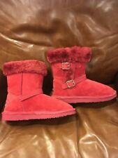 Lamo women's red leather suede faux fur two buckle ankle boots size 7.5