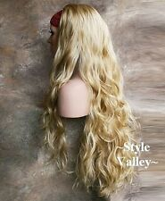 Heat OK Blonde Mix 3/4 Fall Hairpiece Wavy Extra Long Half Wig cap Hair Piece