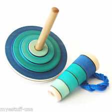 Wooden Spinning Top with Starter in Blue