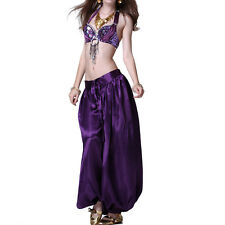 Oriental Belly Dance Costume Bead Bra Top Satin Pant Trousers Bollywood Carnival