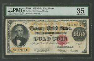 FR1215 $100 1922 GOLD PMG 35 CHOICE VF+ DEEP RICH COLOR FRONT & BACK WLM8373