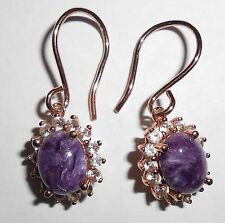 18KT ROSE GOLD OVER STERLING SILVER PURPLE CHAROITE DANGLE EARRINGS WITH TOPAZ