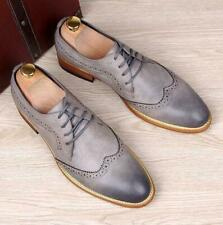 New Retro oxford Men's Brogue Lace up Wingtip Leather Dress Formal Shoes carving