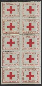 Grenada WWI Red Cross Society One Fraction label in block of 10 unused