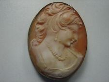 große, antike Gemme, Brosche/Anhänger, Muschel Camee, 800er Silber, 4x5cm