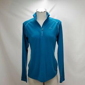 Paradox Womens Merino Wool Blend Base Layer Top Size Large Blue 1/4 Zip Mock
