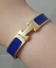 H Clic Clac Enamel PM Bracelet Blue GHW Gold Hardware