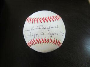 John Rutherford Autograph Signed Baseball Ball JSA (B11) Brooklyn Dodgers