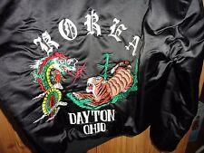 Mens Vintage US Military Korea Satin Dragon Tour Bomber Jacket Dayton Ohio - LRG