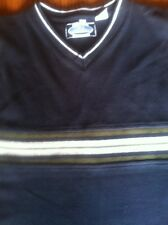 Point Zero Sweater Vest Large Cotton Navy Blue Olive Green White Stripe Box 253