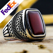 925 Sterling Silver Red Agate Stone Turkish Handmade Ottoman Men's Ring All Size