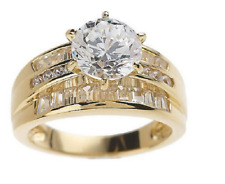 Diamonique Round & Baguette Ring, 14K Yellow Gold-Clad Sterling SIlver -  Size 6