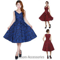 RK107 Rockabilly Evening Retro Bridesmaid Dress Pin Up Vintage 50s Prom Swing