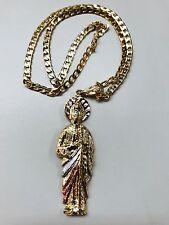 San Judas Tadeo de Oro Laminado en tres tono y Cadena