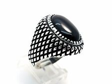 HQ Handmade Black Onyx 925 Sterling Silver Turkish Ottoman Ring 9.75 USA Seller
