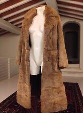 Stupendo Vintage Originale Anni '70 Cappotto Pelliccia Lapin Marrone Tg. XS-S