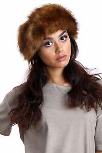 NEW Ladies Faux Fox Fur HeadBand Winter Fleece Earwarmer Hat Ski Multifunctional