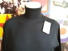 JOHN SMEDLEY Mod Polo Neck BNWT Merino Wool Navy Blue Size Large
