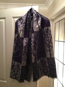Gorgeously Soft Tree Design Purple/Grey Scarf, NEW!