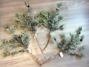 "PINE TREE BRANCHES ARTIFICIAL FOUR BEN FRANKLIN 24"" W/SNOW & PINECONES SPRAYS"
