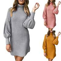 Ladies Women High Neck Casual Plain Long Puff Sleeve Mini Dress Winter Fall Tops