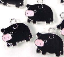 6 Enamel Lucky Pig Pendant Charm 18x20mmm - Black