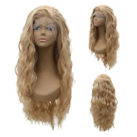 Women Cool Blonde Long Full Wavy Front Lace Wigs Curly Natural Hair  Cosplay NE