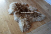 Curly Brown-White Icelandic Genuine Sheepskin Lambskin Sheep skin rug pelt