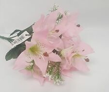 ARTIFICIAL FLOWER 3 x LILY BUNCHES 34CM LONG 21 HEADS IN TOTAL PINK