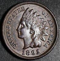 1892 INDIAN HEAD CENT - AU UNC - With OBVERSE DIE CRACKS ALL AROUND!