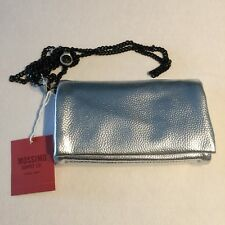 NEW Purse Organizer Silver Wallet Black Chain Magnetic Snaps Zip Pockets