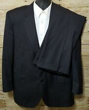 Jos A Bank Signature Gold Men's Charcoal Gray Pinstriped WOOL 2 Piece Suit 42 R