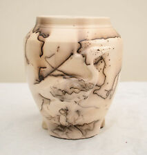 USA-Made Horsehair Vase w/ Sculpted Heron by Cindy Martin/Aldrich Valley Pottery