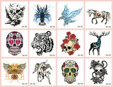 US SELLER, 10 sheets Stick on tattoo sugar skull tiger eagle animals temporary