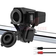 Waterproof Motorcycle Handlebar 12V USB Port Charger 5V Cigarette Lighter Socket