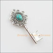 3Pcs Retro Tibetan Silver Turquoise Flower Key Charms Pendants 20x49mm