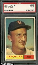 1961 Topps #548 Ted Wills Boston Red Sox PSA 7 NM