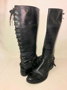 Corso Como Women's 9 Black Leather Lace Up Back Harness Buckle Tall Riding Boots